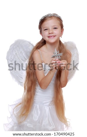 Gorgeous little angel isolated on white background on Holiday theme/Portrait of smiley little angel wearing gorgeous dress and posing on camera - stock photo