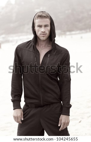 Gorgeous male model fashion portrait - stock photo