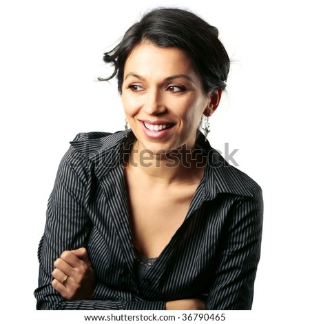 Gorgeous middle age Latin American woman looking with admiration at something next to her isolated on white - stock photo