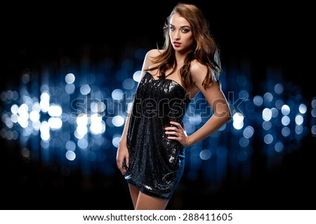 Gorgeous Model in a nightclub - stock photo