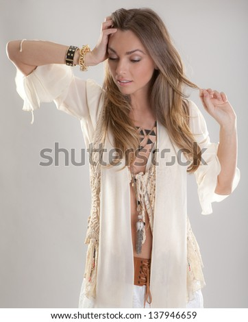 Gorgeous Model in Bohemian Outfit - stock photo