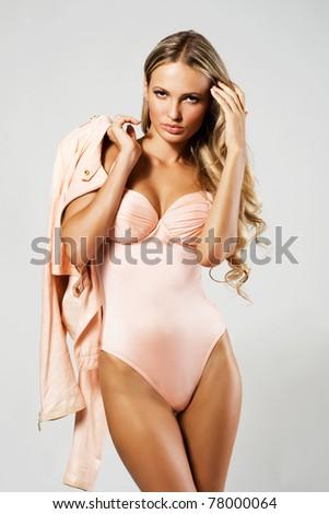 Gorgeous model in fashionable bikini - stock photo