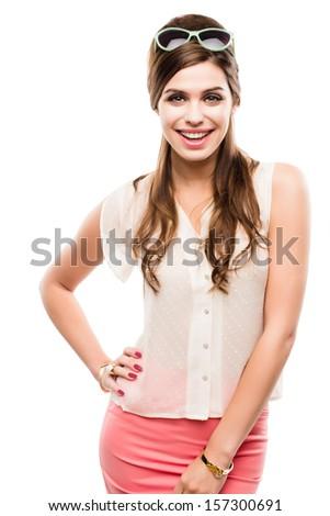 Gorgeous Model with sassy Attitude isolated on white. - stock photo