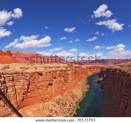 Gorgeous modern bridge across the Colorado River at Navajo Reservation - stock photo