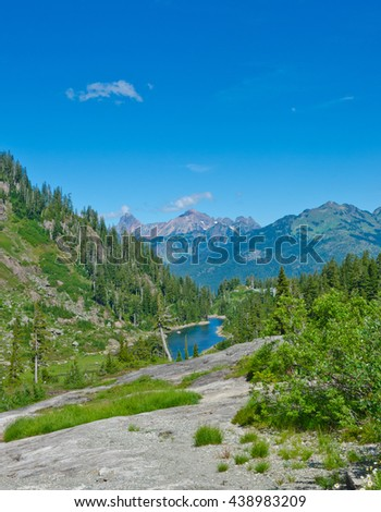 Gorgeous mountain view. Outlook at the valley at Mount Baker lands and wilderness  North America. - stock photo