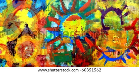 Gorgeous Original Painting of Colorful Abstract Suns