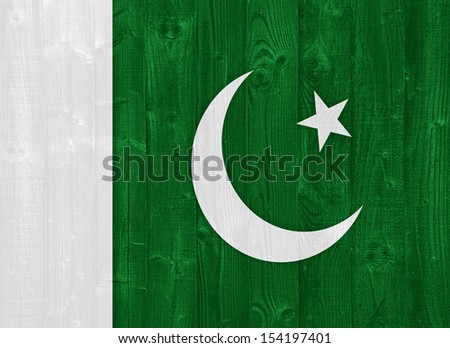 gorgeous Pakistan flag painted on a wood plank texture - stock photo