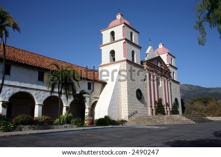 Gorgeous picture of the Santa Barbara Mission in California - stock photo