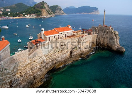 Gorgeous picturesque cliff in Petrovac in Montenegro - stock photo