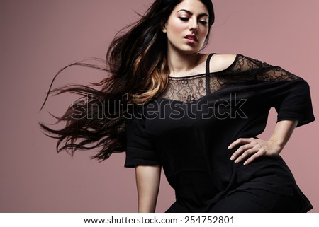 gorgeous plus size model - stock photo