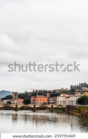 gorgeous Ponte alle Grazie over river Arno in Florence, Italy. - stock photo