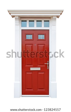gorgeous red british house door (isolated on white background)