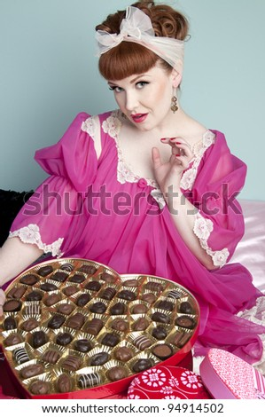 Gorgeous red head pin up model Valentine - stock photo