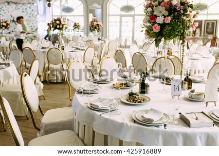 Gorgeous restaurant for the wedding celebration - stock photo