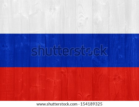 gorgeous Russia flag painted on a wood plank texture - stock photo