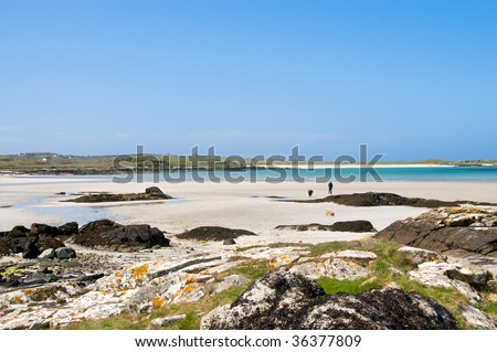 Gorgeous sandy beach of Clifden in Connemara on the west coast of Ireland - stock photo