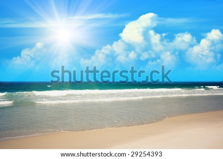 Gorgeous sandy tropical beach in sunny day - stock photo