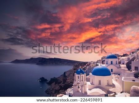 Gorgeous Santorini scene at sunset - stock photo
