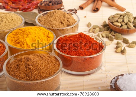 gorgeous setting with cooking spices and herbs (bay leaves, cumin, coriander, chili powder, cloves, cardamom pods, cinnamon sticks, paprika, piri piri, salt, turmeric) on a wooden mat (shallow DOF) - stock photo