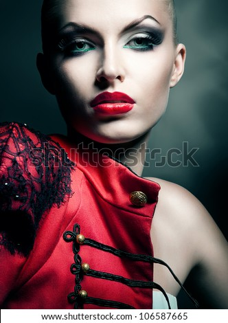 gorgeous sexy woman in red jacket with red lips - stock photo