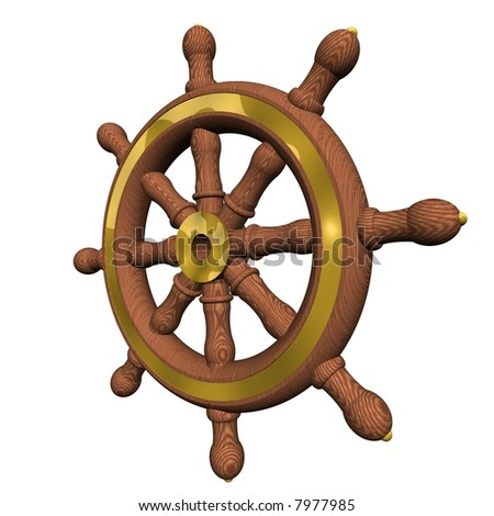 Gorgeous ship's steering wheel isolated on white - stock photo