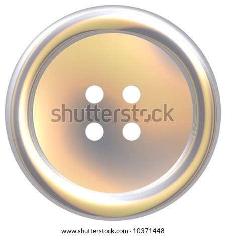 Gorgeous silver clothes button isolated on white - stock photo