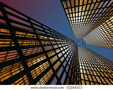 Gorgeous skyscrapers at night - stock photo