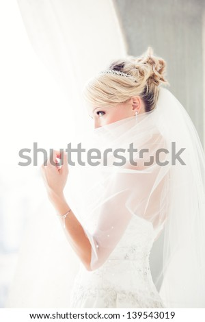 Gorgeous smiling blonde bride  in front of a Penthouse window at a modern hotel peaking over her veil - stock photo