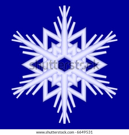 Gorgeous snowflake isolated on blue - stock photo
