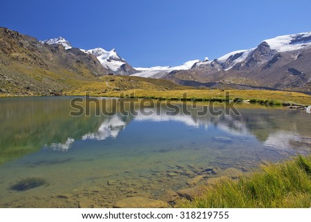 gorgeous summer landscape in the Swiss Alps - stock photo