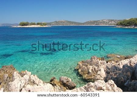 Gorgeous summer landscape of Dalmatian coast, Croatia - stock photo