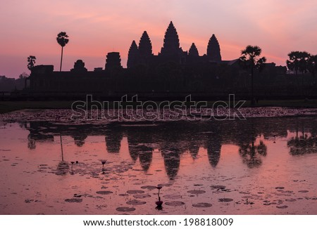 Gorgeous Sunrise at Angkor Wat. Siem Reap, Cambodia - stock photo