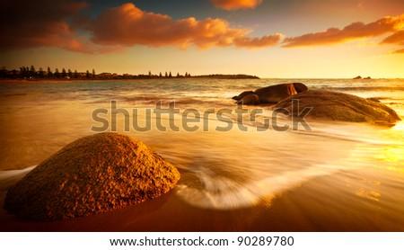 Gorgeous Sunrise on a South Australian Beach - stock photo