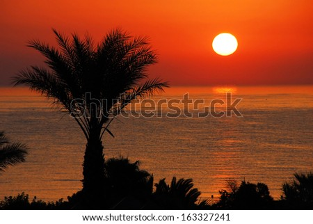 gorgeous  sunrise over sea and orange sky in Tunisia - stock photo