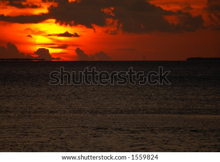 Gorgeous Sunset from the Seven Mile Bridge in the Florida Keys - stock photo