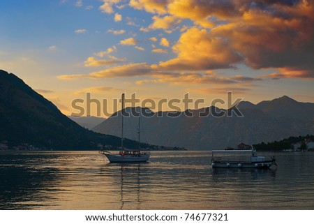 Gorgeous Sunset in the Kotor Bay (Boka Kotorska), Montenegro - stock photo