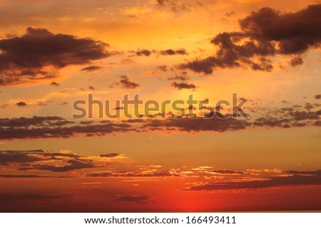 Gorgeous sunset sky over the Black Sea - stock photo