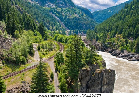 Gorgeous view at Fraser river and Pacific Canadian Railway. - stock photo