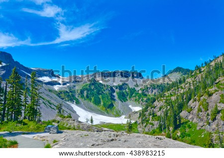 Gorgeous view at the valley  at Mount Baker lands and wilderness. North America. - stock photo