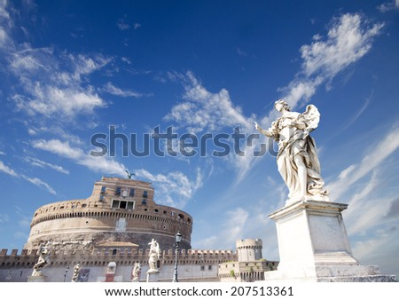 gorgeous view of Castel Sant Angelo and Angel statue in Rome, Italy  - stock photo