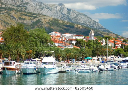 Gorgeous view of marina in dalmatian Baska Voda, Croatia - stock photo