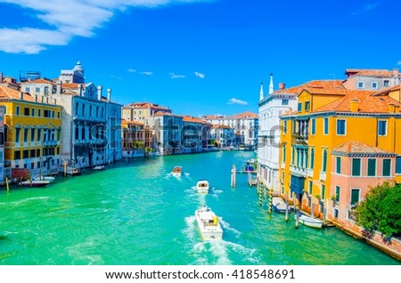 Gorgeous view of the Grand Canal from ponte dell´accademia, Venice, Italy - stock photo