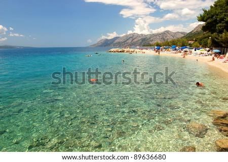 gorgeous view on dalmatian beach in baska voda, croatia - stock photo