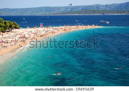 Gorgeous view on Golden Cape on Brac island inCroatia - stock photo