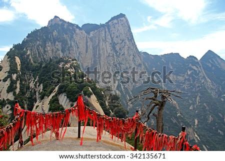 Gorgeous views of the mountains Huashan Mountain, Xian, China - stock photo