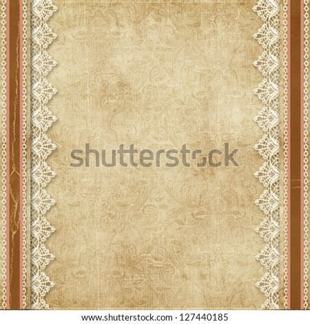 Gorgeous vintage background with lace - stock photo