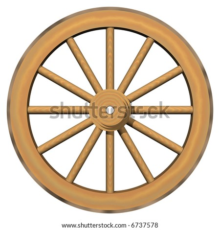 Gorgeous wagon wheel isolated on white - stock photo