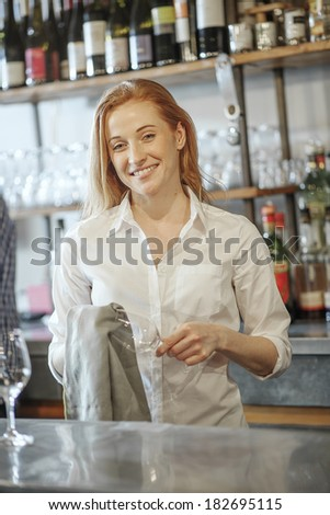 gorgeous waitress wiping a glass in a bar