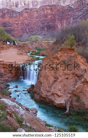 Gorgeous waterfalls, Havasupai Indian Reservation, Arizona - stock photo