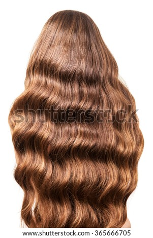 Gorgeous wavy hair flowing on her back close up, isolated on white background - stock photo